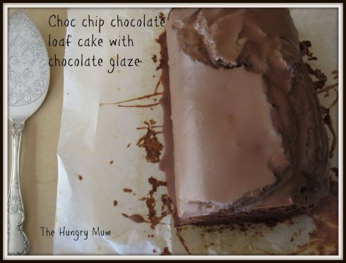 Choc chip chocolate  loaf cake with chocolate glaze
