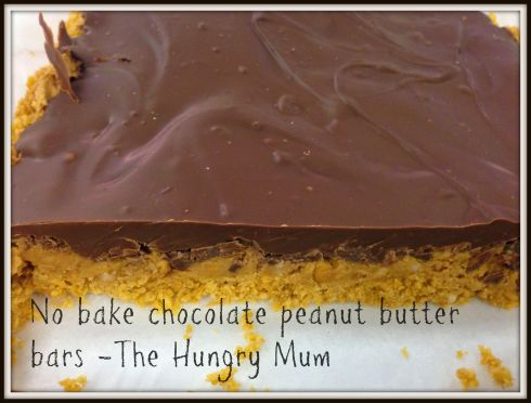 No bake chocolate peanut butter bars -The Hungry Mum