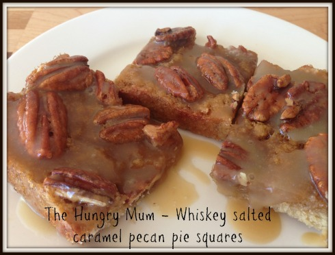Whiskey salted caramel pecan pie squares 1