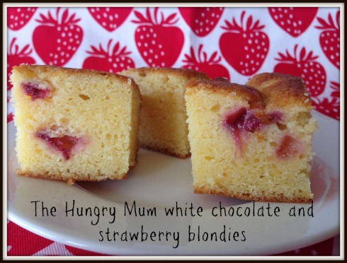 The Hungry Mum white chocolate and strawberry blondies