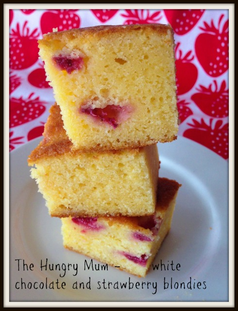 The Hungry Mum white chocolate & strawberry blondies