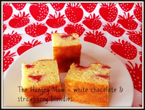 white chocolate and strawberry blondies - The Hungry Mum
