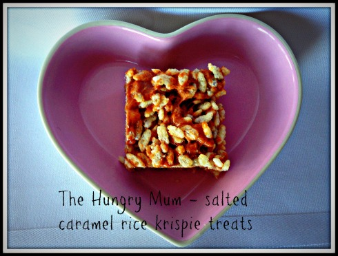 The Hungry Mum - salted caramel rice krispie squares