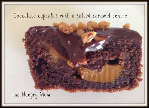 Chocolate cupcakes with a salted caramel centre. The Hungry Mum