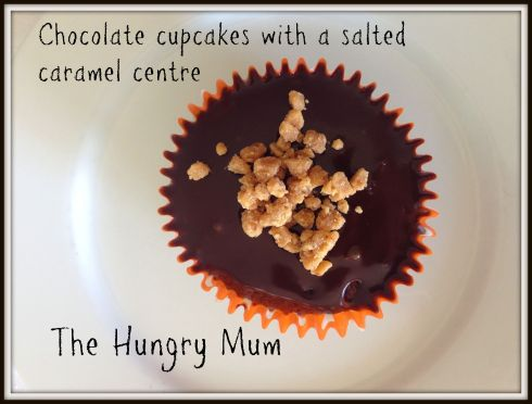 The Hungry Mum. Chocolate cupcakes with a salted caramel centre