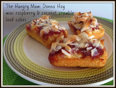 The Hungry Mum Donna Hay mini raspberry & coconut crumble loaf cakes