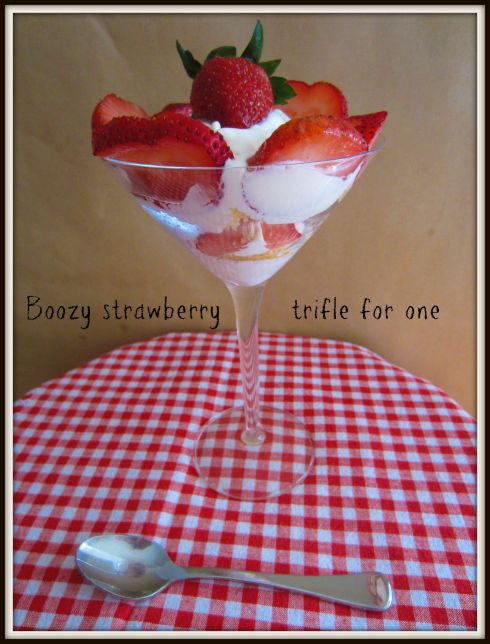Boozy strawberry trifle for one... The Hungry Mum