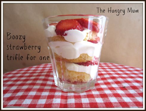 Boozy strawberry trifle for one