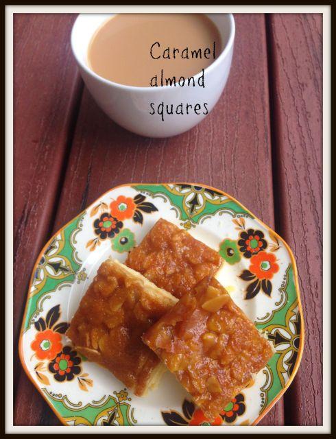 Caramel almond squares