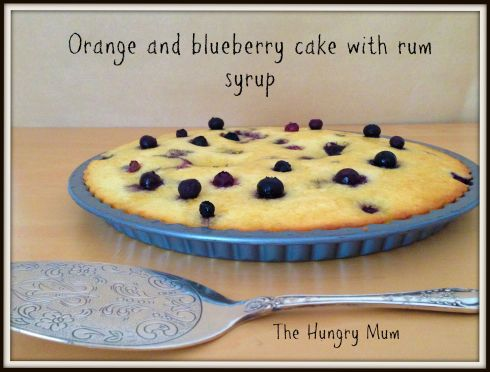 Orange & blueberry cake with rum syrup
