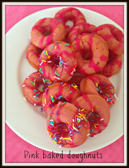 Pink baked doughnuts - a cute treat that will make you smile.