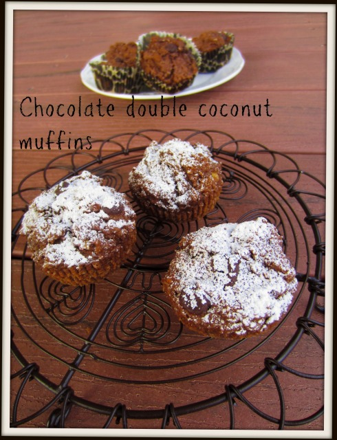 chocolate double coconut muffins