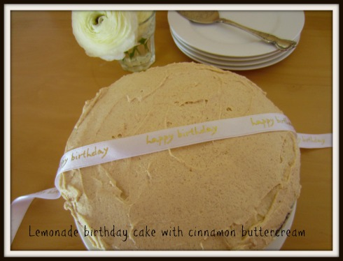 Lemonade birthday cake with cinnamon buttercream