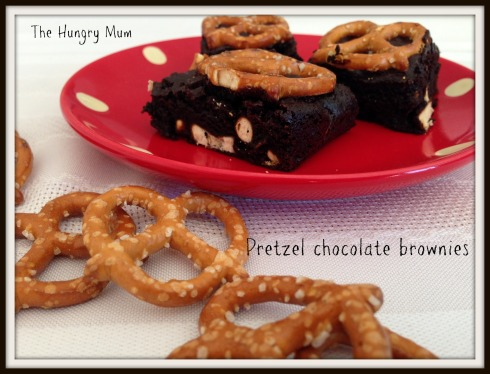 Pretzel chocolate brownies. The Hungry Mum.