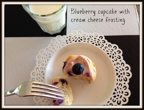 Blueberry cupcake  with blueberry cream-cheese frosting