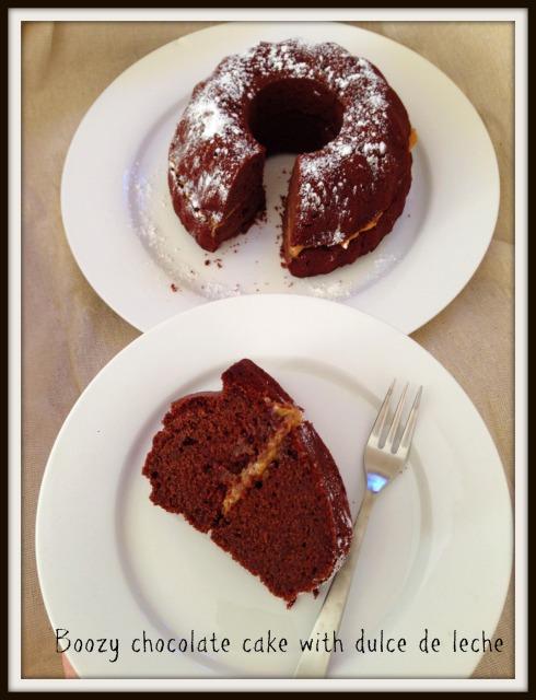 Boozy chocolate cake with dulce de leche