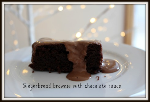 Gingerbread brownie with chocolate sauce