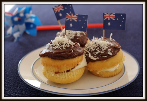 Easy Australia Day dessert Inside out lamington cupcakes - the hungry mum