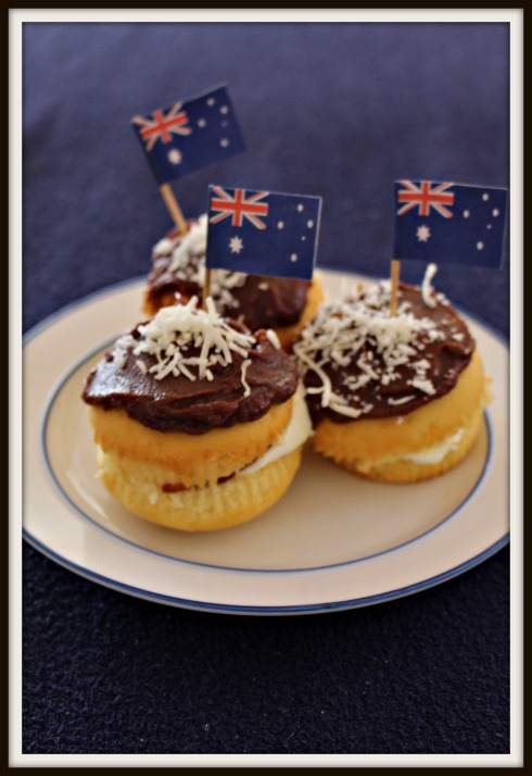 The Hungry Mum - Easy Australia Day dessert Inside out lamington cupcakes