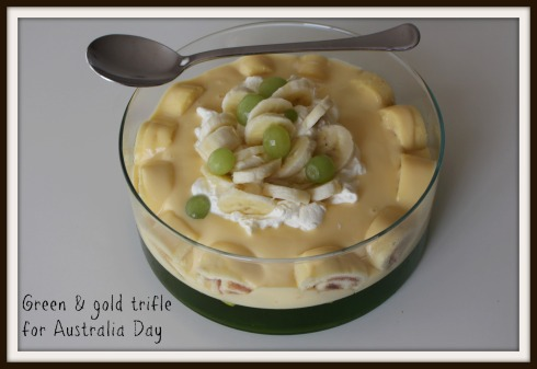 The Hungry Mum Green & gold trifle for Australia Day
