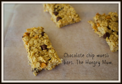 Chocolate chip muesli bars. The Hungry Mum.