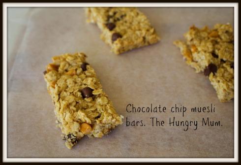 Chocolate chip muesli bars. The Hungry Mum.