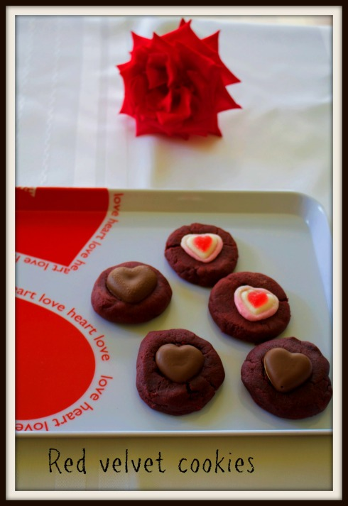 Red velvet cookies for Valentines Day. The Hungry Mum
