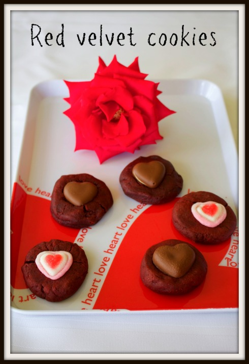 Red velvet cookies for Valentines Day...