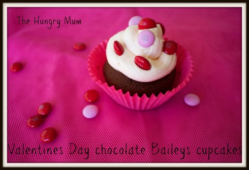 The Hungry Mum. Valentines Day chocolate Baileys cupcakes