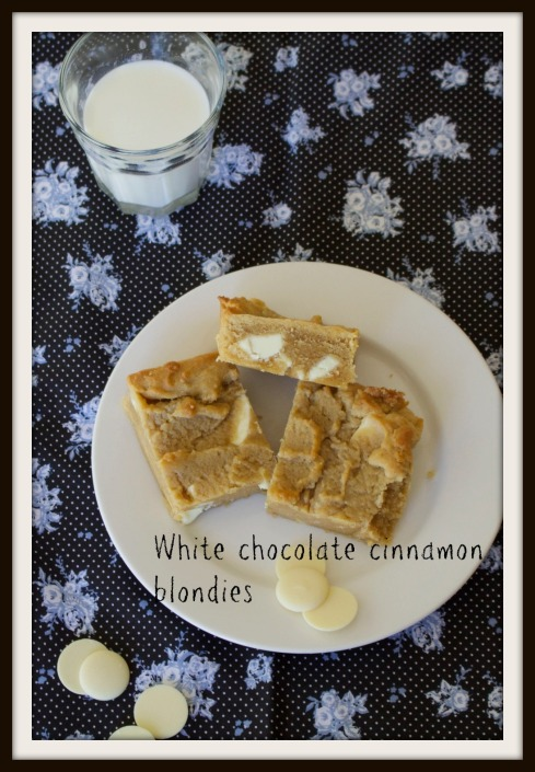 White chocolate  cinnamon blondies - The Hungry Dad