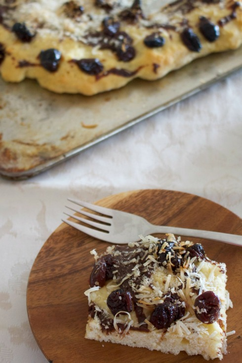 Cherry, chocolate and coconut scone tray bake. The Hungry Mum