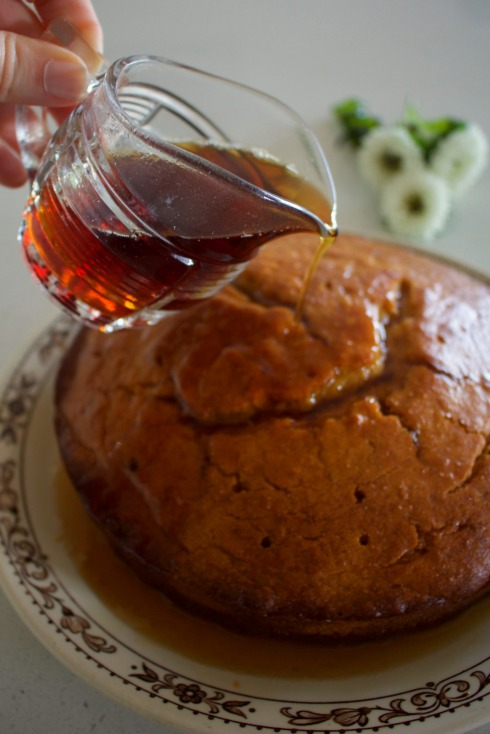 Caramel syrup cake. Soaking a warm cake in a shower of warm sugar-based syrup surely must be one of the most pleasurable ways of enjoying life.