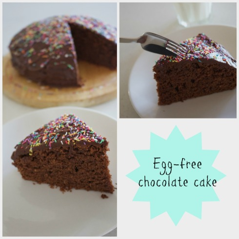 egg-free chocolate cake with easy fudge icing