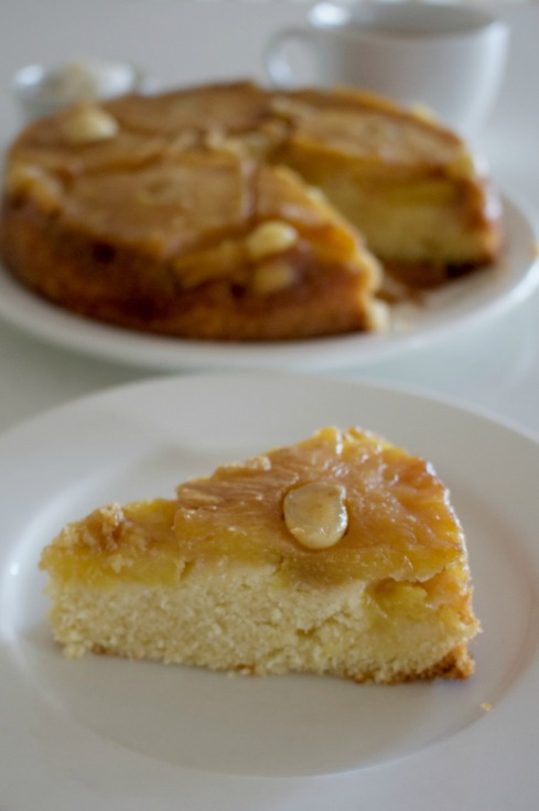 Pineapple rum upside down cake with macadamias