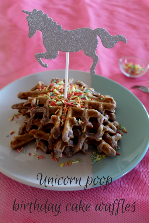 Unicorn poop birthday cake waffles - The Hungry Mum