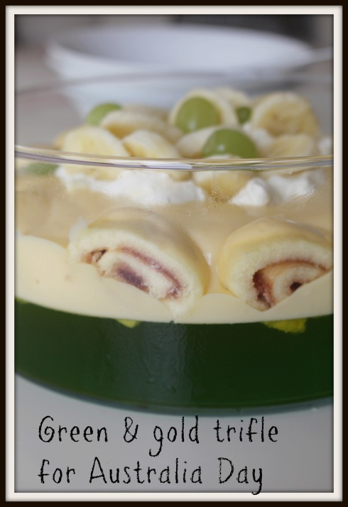 Green & gold trifle  for Australia Day - The Hungry Mum