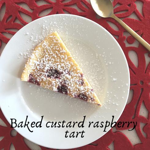Baked raspberry custard tart